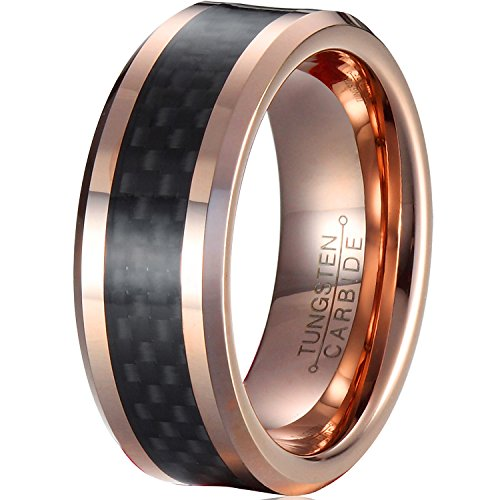 MNH Tungsten Rings for Men Wedding Band 8mm Rose Gold Plated Black Carbon Fiber Inlay Beveled Edge