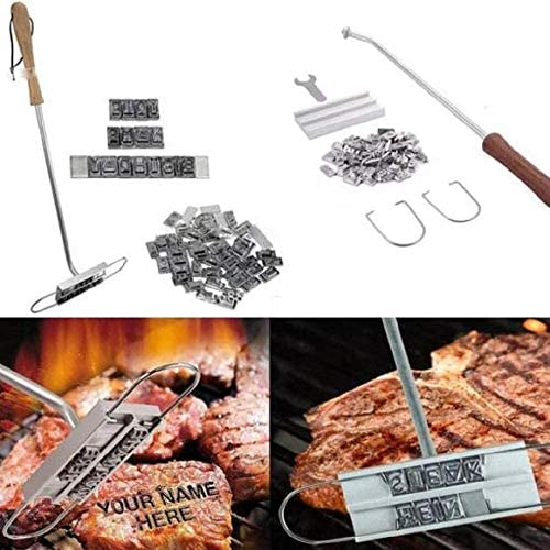 Brandfood-Branding Iron Stamp, 43cm BBQ Meat Branding Iron with 55 Changeable Letters, DIY Barbecue Letter Printed, Personalized Barbecue Steak Names Tool