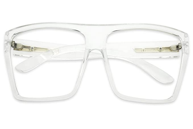 af4ccb6963 SunglassUP XL Oversized Square Trapazoid Clear Transparent Non Prescription  Fashion Sun Glasses (Clear