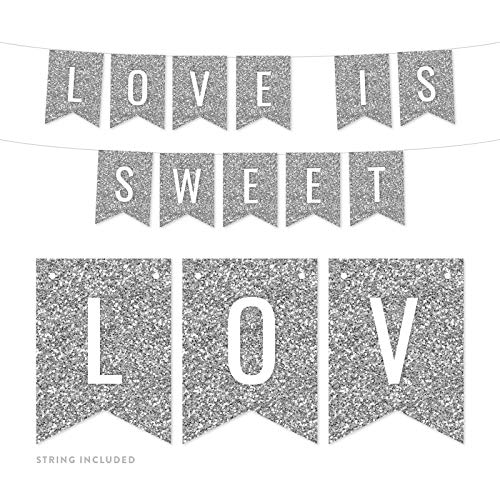 Andaz Press Faux Silver Glitter Party Banner Decorations, Love is Sweet, Approx 5-Feet, 1-Set, Birthday Wedding Baby Shower Colored Hanging Pennant Decor
