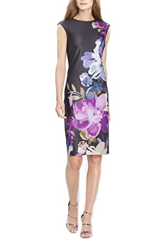 f87588e1 Tahari Brand - Women's Placed Floral Print Scuba Sheath Dress - Black  Indigo Beet at Amazon Women's Clothing store: