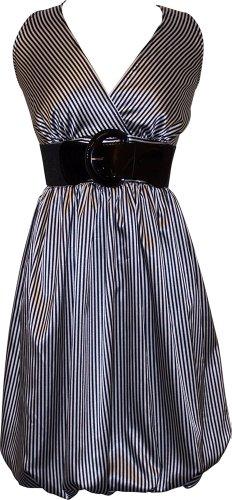 Pinstriped Satin Belted Bubble Dress Plus Size, Medium, Black/Ivory