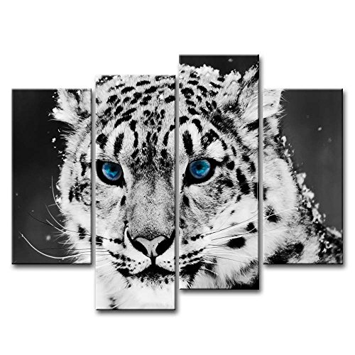 Black And White 4 Piece Wall Art Painting Blue Eye Snow Leopard Prints On Canvas The Picture Animal Pictures Oil For Home Modern Decoration Print Decor