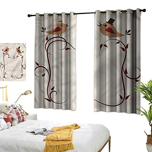Lightly Turquoise Curtains Animals,Wedding Announcement Birds 63