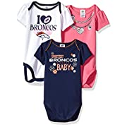 NFL Denver Broncos Girls Short Sleeve Bodysuit (3 Pack), 0-3 Months, Pink