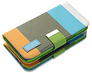 myLife Sun Kissed Orange + Light Blue {Stripe Design} Faux Leather (Card, Cash and ID Holder + Magnetic Closing) Slim Wallet for the All-New HTC One M8 Android Smartphone - AKA, 2nd Gen HTC One (External Textured Synthetic Leather with Magnetic Clip + Internal Secure Snap In Hard Rubberized Bumper Holder)