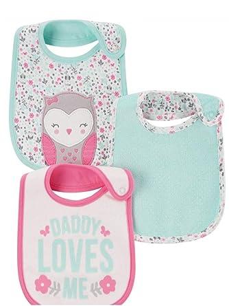 Amazon Com Child Of Mine By Carters Newborn Baby Girl 3 Pack Bibs
