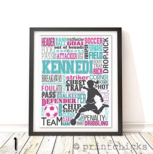 Soccer Typography Personalized Print - PrintChicks Wall Art Decor Poster Team Gift ()