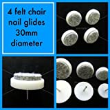 Four 30mm diameter felt & nylon nail on chair leg feet glides anti scratch wood floor potection by Sew-select