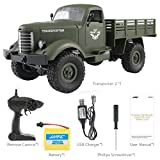 Mikey Store RC Military Truck Off Road JJRC Q61 1:16 2.4G Remote Control 4WD RTR Toy (Green)