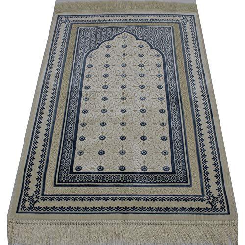 Modefa Prayer Rug | Turkish Velvet Namaz Sajadah Janamaz | Free Prayer Beads | Classic Elegant Swirl (Green)