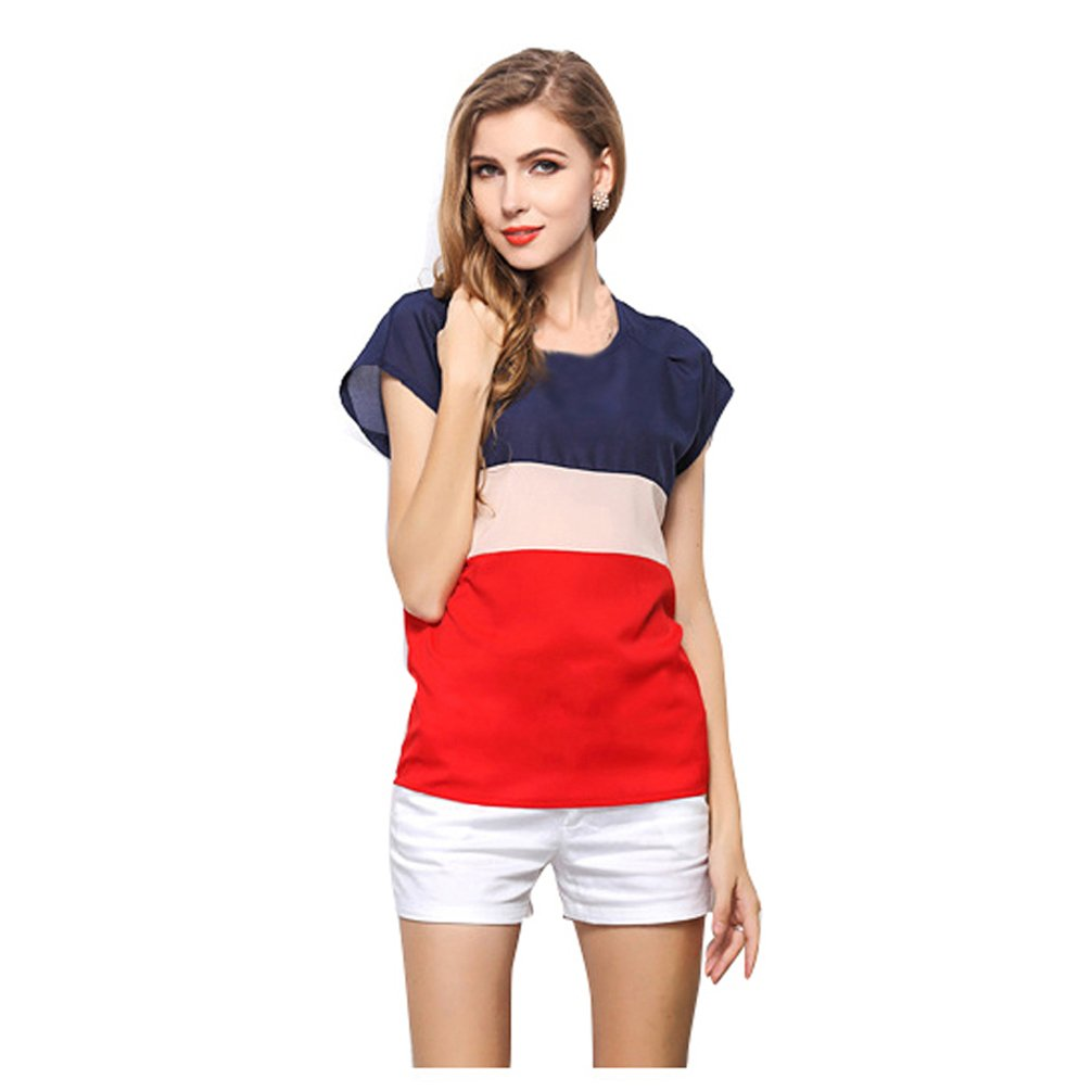 Tomlyws Women's Loose Casual Stripe Color Collision Chiffon T-Shirt Short Sleeve Lightweight Tops Blouse Shirt WT3-$