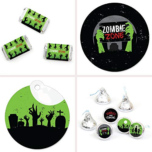 Big Dot of Happiness Zombie Zone - Halloween or Birthday Zombie Crawl Party Decorations Favor Kit - Party Stickers & Tags - 172 pcs]()