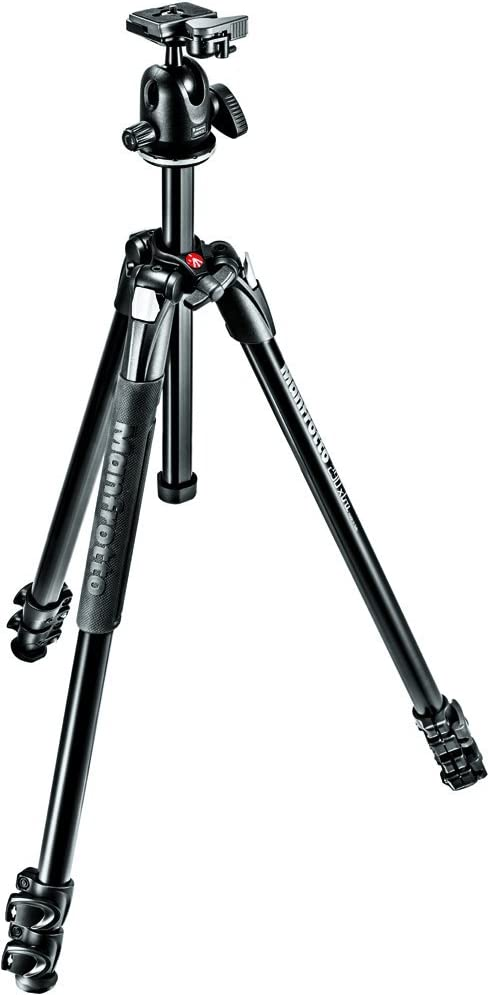 Manfrotto 290 Xtra Aluminum 3-Section Tripod Kit with Ball Head (MK290XTA3-BHUS),Black