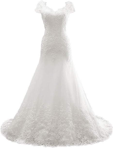 Brautkleider Lang Elegant V Ausschnitt Hochzeitskleid A Linie Tull Abendkleider Brautmode Standesamt Kleid Fur Hochzeit Amazon De Bekleidung