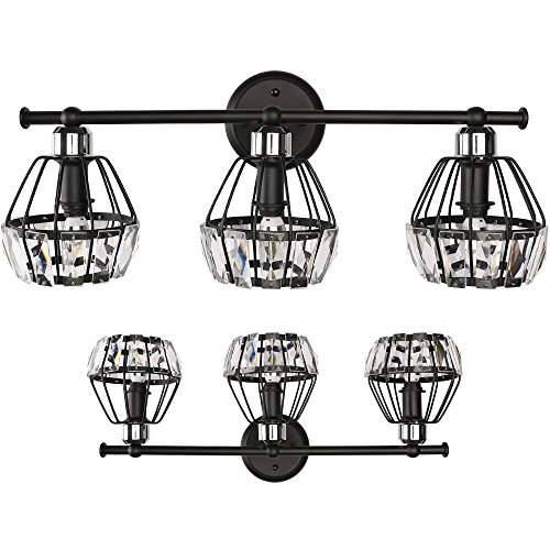 SOLFART 3 Head Vintage Classical Crystal Vanity Lights Modern Bathroom Light Fixtures Over Mirror (3 Lights) ()