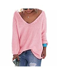 QIYUN.Z Women V Neckline Loose Sweater Pullover Knit Coat