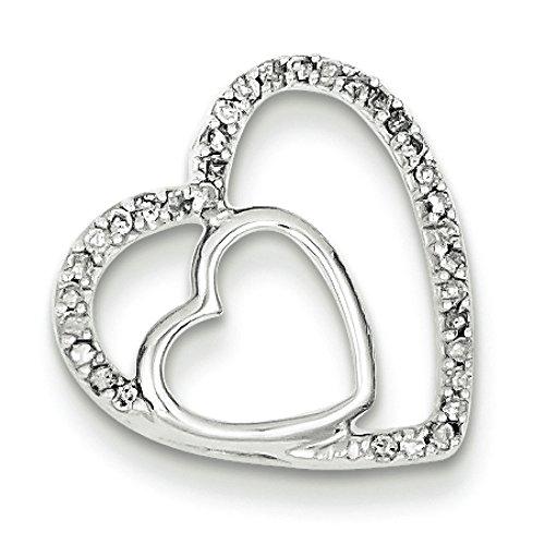 Argent Sterling diamant pendentif coeur-Rough JewelryWeb