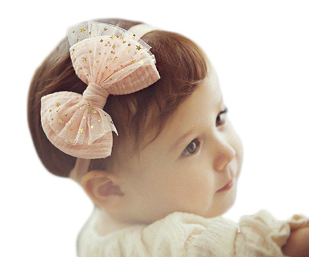 cosanter beb/é ni/ña el/ástico cinta bowknot flor pelo banda Rose Talla:S