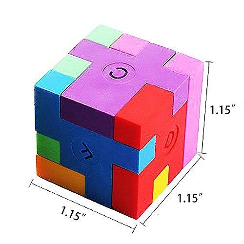 Cube Puzzle Eraser, 3 Styles Mini Colorful Geometric 3D Shape Cube Puzzle Pencil Rubbers Building Blocks Erasers Photo #5