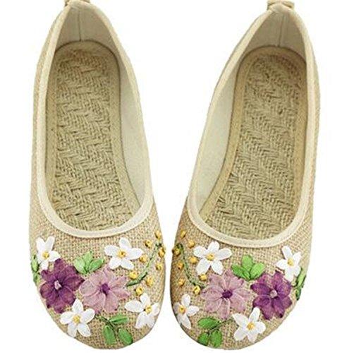 Linen Kenavinca Cotton On Khaki Shoes Flats Flower Feminino 1 Ballerina Vintage Slip Peking Fabric 9 Sapato Embroidered Old Comfortable Women Flat nwCwgrqz