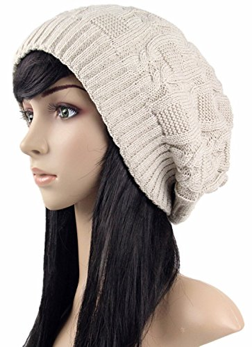 RRiody Women Thick Slouchy Knit Oversized Beanie Cap Hat Winter Warmming Cap (Beige) (Women Hipster Hats)
