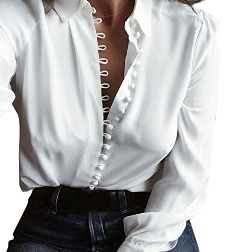 1a4a184ffe98 Kangma Women Casual Elegant Solid Long Sleeves Lapel Button Shirts Blouse  White hot sale 2017