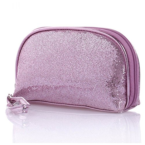 IebeautyGlitter Gold Purple Pink Sequined Purse Small Cosmetic Accessory Bag Sparkle Clutch Evening Hand Bag Purse(Pink)