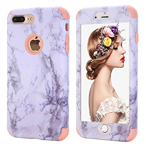 iPhone 7 plus Marble Case,Kudex Ultra Slim Fit Clear White Marble Pattern Design Dual Layer Shockproof Anti-Scratch Hybrid High Impact Protective Case Cover for iPhone 7 Plus 5.5 Inch (Rose-Gold)
