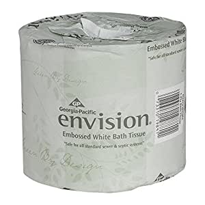 "Georgia-Pacific Envision 19841/01 White 1-Ply Embossed Bathroom Tissue, (WxL) 4.000"" x 4.050"" (Case of 40 Rolls, 550 Sheets per Roll)"
