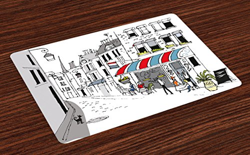 Lunarable Paris Place Mats Set of 4, Drawing of a Street in Paris a Cafe and The Street Lamp Illustration Art Print, Washable Fabric Placemats for Dining Table, Standard Size, White Grey