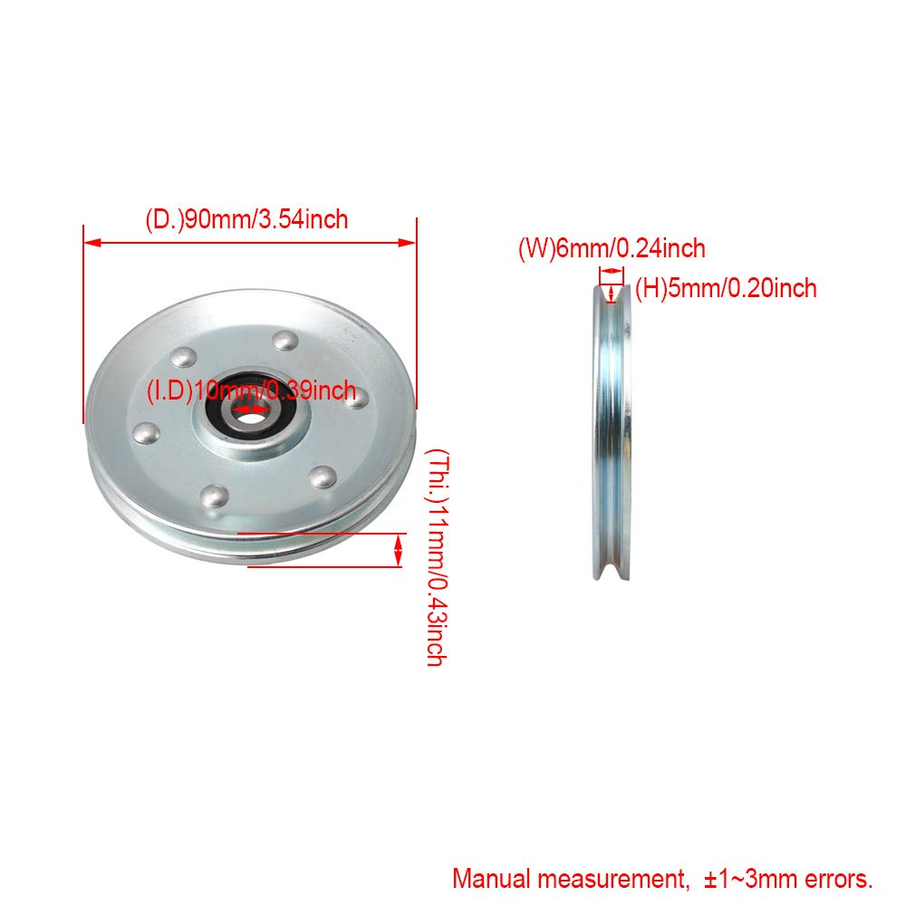 gaixample.org CNBTR 10x90x11mm Silver Iron Cable Pulley V-Shape ...