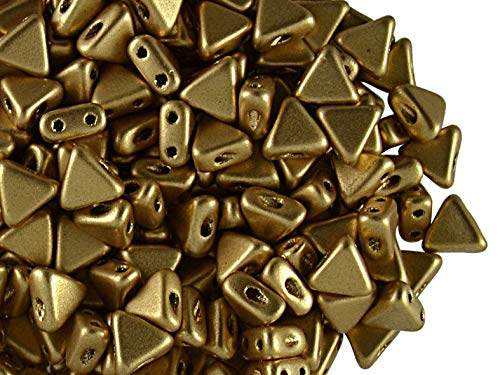50pcs Kheops Par Puca Beads - Czech Pressed Glass Beads of Triangular Shape, with Two Holes, 6 mm, Light Gold Matte