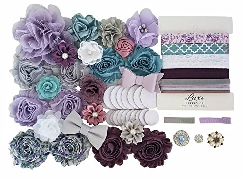 Amethyst Baby - DIY Headband Kit - Makes 16 Headbands and 2 Clips! - Amethyst, French Blue, and Silver - Includes Rhinestones and Felt Circles - Great Baby Shower Activity ()
