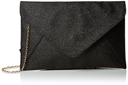 boohoo Womens Glitter Envelope Clutch Black
