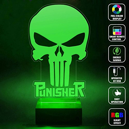 CMLART Handmade The Punisher Skull Logo 3d Lamp RGB Full Color 44 Key Remote control LED Night Light Best Gift Desk Table Lighting Home Decoration Toys