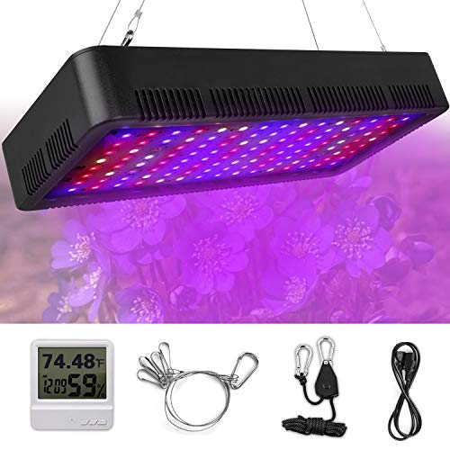 LED Grow Light, Honesorn 1200W Full Spectrum Growing Lamp with UV&IR, Indoor Garden Plant Light with Thermometer Humidity Monitor and Adjustable Rope, Grow Lights for Indoor Plants, Greenhouse