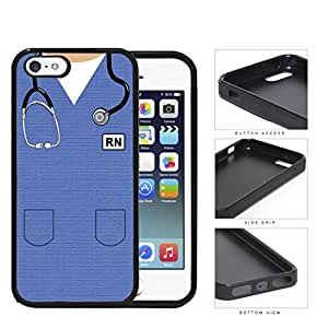 RN Nursing Scrubs (Blue) iPhone 5 5s Rubber Silicone TPU Cell Phone Case