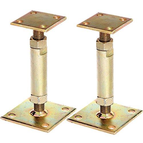 2x GAH Pfostentr/äger mit 2 Platten gelb verzinkt aufd/übelbar h/öhenverstellbar