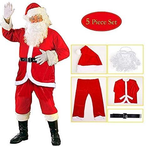 sumuya Disfraz de Papá Noel para Adulto (5 Piezas), Disfraz Santa Claus, Navidad Traje de Papá Noel, Color Rojo.