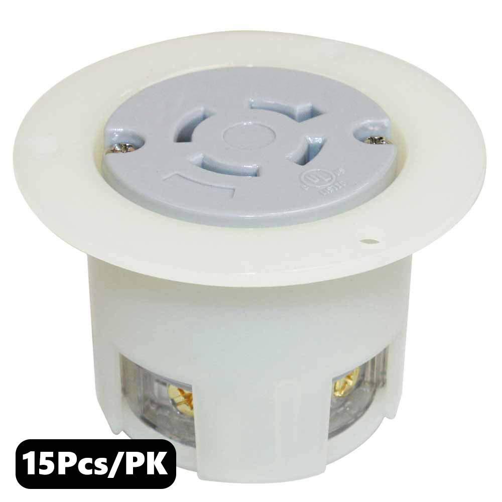 Superior Electric YGF042F Twist Lock Receptacle Flange 3-Pole 4-Wire 20A 480V NEMA L16-20R (15 Pack)