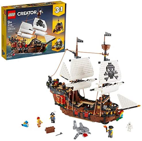 LEGO Creator 3in1 Pirate Ship 31109 Building Playset for Kids who Love Pirates and Model Ships, Makes a Great Gift for Children who Like Creative Play and Adventures, New 2020 (1,260 Pieces)