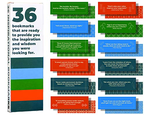 36-Pack of Paper Bookmarks for Men and Boys. This Bulk Set of Cool, Cute, Fun quotemarks Feature Inspirational, Motivational, and Unique Quotes. Each bookmarker is Made of The Best cardstock.]()