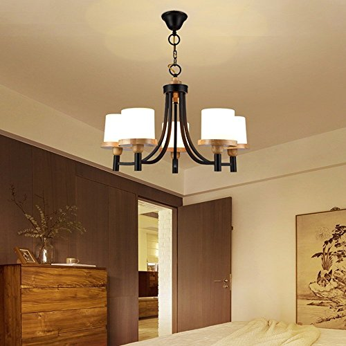 HOMEE Ceiling Chandelier-Modern Minimalist Chinese Solid Wood Nordic Style round Wood Chandelier Living Room Dining Room Bedroom Lobby Study Chandelier (Shape Optional) --Interior Lighting Chandelier by HOMEE