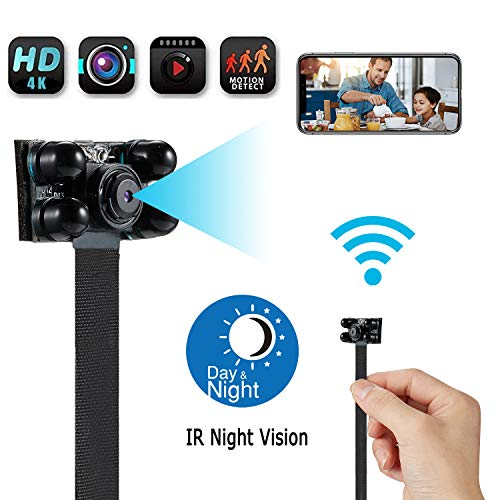 Spy Camera Wireless Hidden Camera WiFi Camera, 4K HD DIY Mini Camera Home Security Camera Small Camera Nanny Cam with Night Vision/Motion Detection/Remotely View, APP Supports Android/iOS