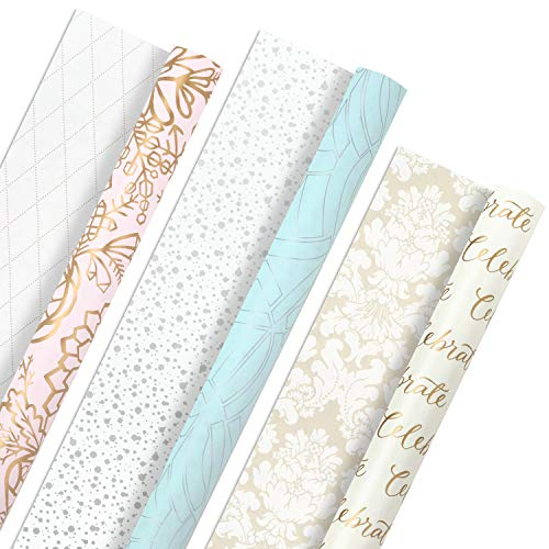 Hallmark All Occasion Reversible Wrapping Paper Bundle – Pastel & Metallic Celebrate (3-Pack: 75 sq. ft. ttl.) for Weddings, Birthdays, Baby Showers, Bridal Showers, Valentine's Day and More
