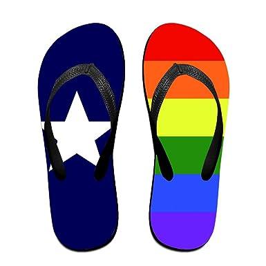 06b88b2a0f16 Amazon.com  Unisex Summer Rainbow Texas Flag LGBT Gay Pride Flip Flop  Shower Sandal  Clothing