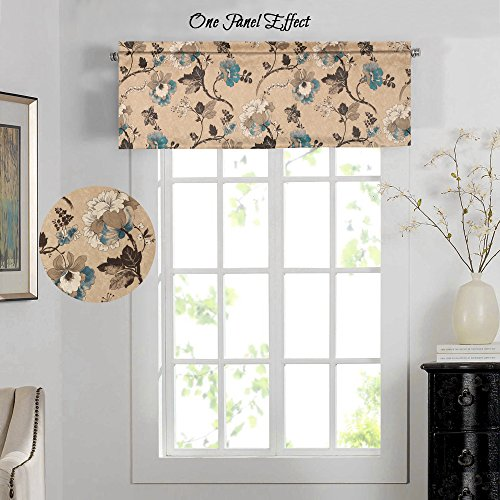 H.VERSAILTEX Energy Saving Curtain Valances Matching with Curtain Panels (Rod Pocket, 52 by 18 Inch, Vintage Floral with Brown Aqua Taupe Pattern)