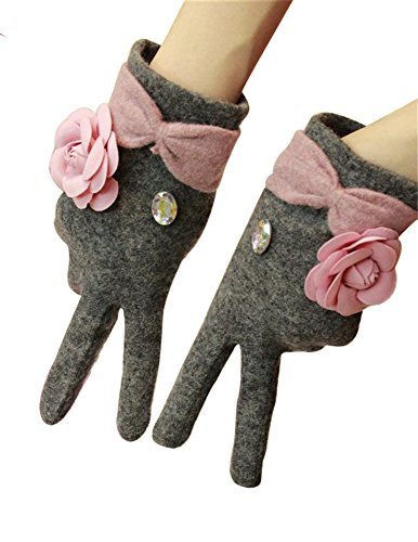 Women's Fancy Winter Glove with Bow Accent Cashmere Driving Glove (Bow Accent Gloves)