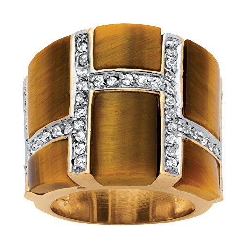 18K Yellow Gold-plated Rectangular Shaped Genuine Brown Tiger's Eye and CZ Ring Size (Cushion Cut Tigers Eye Ring)